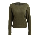 New Fashion Women Knitted Sweater Round Neck Batwing Sleeve Solid Color Top Army Green