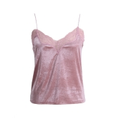 Sexy Women Lace V-Neck Cami Top Sleeveless Strappy Velvet Vest Spaghetti Strap Tank Top Bra Bralette Dark Blue/Pink