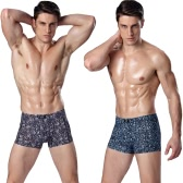 Fashion Men Underpants Boxer Shorts Flora Print Elastic Waist Breathable Underwear Briefs Blue/Purple