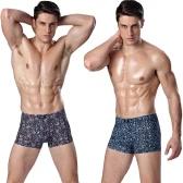 Fashion Men Underpants Boxer Shorts Flora Print Elastic Waist Breathable Underwear Briefs Blue/Purple