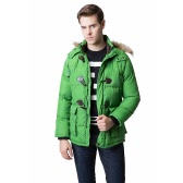 Fashion Winter Men Parka Faux Fur Collar Hooded Thick Warm Jacket Coat Outerwear