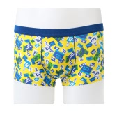 Fashion Men Boxer Shorts Print Elastic Waist U Convex Seamless Trunks Underwear Underpants Yellow/Black/Blue