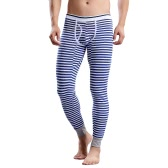 Fashion Men Winter Leggings Striped Long Johns Underwear Tights Elastic Waist Cotton Sleepwear Thermal Pants