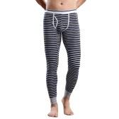La moda masculina de invierno polainas rayadas Long Johns Ropa interior Medias cintura elástico camisones de algodón Pantalones Caliente