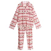New Men Two-Piece Set Pajama Christmas Sleepwear Turn-Down Collar Long Sleeves Buttons White