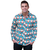 New Autumn Men Christmas Print Shirt Holiday Cartoon Long Sleeve Dress Shirt Casual Men Top