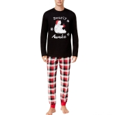 New Men Two-Piece Set Pajama Christmas Sleepwear O-Neck Long Sleeves Casual House Coat Top Pants Black