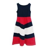New Family Girls Daughter Striped Long Dress Sleeveless Color Block Bohemian Casual Beach Dress Sundress