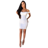 Sexy Women Dress Solid Sweetheart Off Shoulder Lace Up Eyelet Holes Bandage Bodycon Mini Clubwear