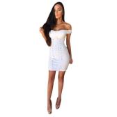 Sexy Frauen Kleid Solide Sweetheart Off Shoulder Lace Up Öse Löcher Bandage Bodycon Mini Clubwear