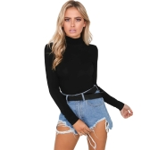 Women Bodysuit Top Sexy Rompers Club Jumpsuit Turtleneck Long Sleeves Solid Playsuit Black/White