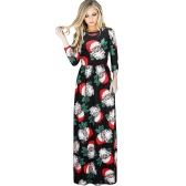 Fashion Women Christmas Santa Claus Printed Long Sleeve Dress O Neck A-Line Swing Xmas Floor-length Dress