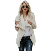 Women Faux Fur Fleece Coat Fluffy Solid Open Front Waterfall Drape Long Sleeve Casual Warm Outerwear Jacket