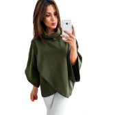 Women Loose Sweatshirt Solid Turtleneck Irregular Three Quarter Batwing Sleeve Casual Warm PulloverWomen Loose Sweatshirt Solid Turtleneck Irregular Three Quarter Batwing Sleeve Casual Warm Pullover