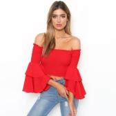 Fashion Women Off Shoulder Flare Sleeve Crop Top Shirring Layered Ruffle Sexy Backless Cropped Top Tee Red/Yellow