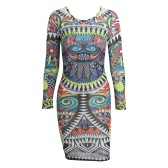 Hot Sexy Women Sheer Mesh Dress Colorful Tattoo Print See-Through O-Neck Long Sleeves Elastic Club Wear Blue