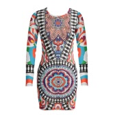 Sexy Women See Through Mesh Dress Tribal Print Long Sleeve Club Party Evening Bodycon Dress Orange