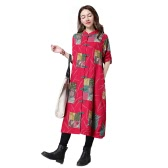 Women Long Cotton Linen Coat Stand Collar Long Sleeves Frog Button Pockets Loose Maxi Jacket Outwear
