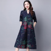 Women Ethnic Dress Cotton Linen Floral Print V Neck Long Sleeve Buttons Vintage Loose One-piece