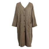 New Women Long Faux Woolen Coat Vintage V-Neck Long Sleeves Button Closure Pockets Loose Maxi Outwear