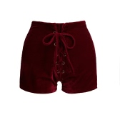 New Sexy Women High Waist Lace Up Velvet Shorts Bodycon Club Punk Hot Casual Shorts Pants Black/Burgundy/Orange