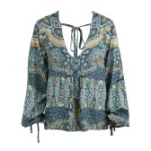 Women Print Blouse Plunge V Neck Long Lantern Sleeve Self-tie Strap Draped Front Loose Casual Boho Top Blue
