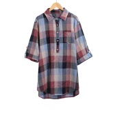 Women Plus Size Shirt Plaid High-Low Hem Button Pocket Turn-Down Collar Casual Blouse Top Black/Red/Blue