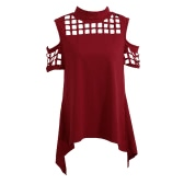 New Women Cold Shoulder T-Shirt Turtle Neck Mesh Hollow Out Slit Back Asymmetric Hem Losse Casual Top