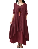 New Fashion Women Casual Loose Dress Solid Long Sleeve Boho Long Maxi Dress