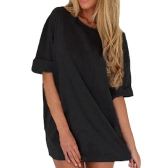 New Fashion Women Casual Loose Dress Solid Color Short Sleeve Ladies Mini Dress Grey/Black/Khaki