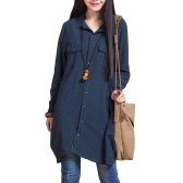 New Women Cotton Linen Long Blouse Irregular Hem Buttons Loose Casual Vintage Top Shirt Dress White/Purple/Dark Blue