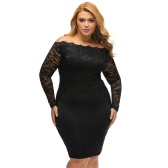 Sexy Women Mini Plus Size Bodycon Dress Floral Lace Splice Off Shoulder Elegant Party Dress Black/Burgundy/Dark Blue