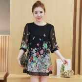 New Fashion Women Chiffon Mini Dress Floral Print Lace Trim O Neck 3/4 Sleeve Party Club Dress Black