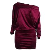 Sexy Women Velvet Dress Off Shoulder Long Sleeve Bodycon Nightclub Party Mini Pencil Dress