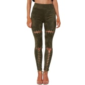 New Sexy Women Faux Suede Leggings Lace-Up Bandage High Waist Skinny Pants Tights Slim Bodycon Pencil Trousers