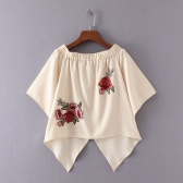 New Summer Off Shoulder T-Shirt Floral Embroidery Flare Sleeve Irregular Hem Casual Loose Top Beige
