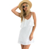 New Fashion Women Polka Dots Mini Dress Spaghetti Strap V Neck Backless Ruffles Beach Summer Dress White/Dark Blue