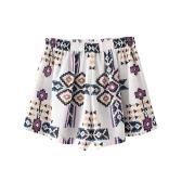 Women Print Chiffon Short Pants Elastic Waist Summer Third Shorts Causal Beach Hot Panties White
