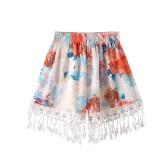 Women Tassel Shorts Summer Print Shorts Elastic High Waist Casual Beach Hot Pants Orange