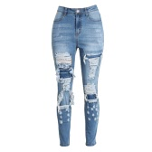 Women Denim Skinny Jeans Washed Ripped Hole Pants Patch Mid Waist Casual Pencil Slim Trousers Blue