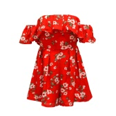 Summer Women Off Shoulder Floral Print Ruffle Elegant Jumpsuit Rompers Casual Short Playsuit Overalls Red