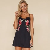 New Sexy Women Mini Dress Floral Embroidery Lace V-Neck Strap Backless Party Nightclub A-Line Dress Black/White