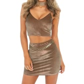 Sexy Women Velvet Crop Top V Neck Sleeveless Two-Piece Set Bodycon Pencil Skirt Set Pink/Brown/Grey