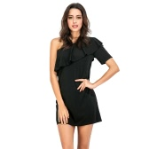 Women Dress Solid Color One Shulder Asymmetric Ruffle Overlay Mini Elegant Party Club Cocktail Dress Black