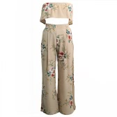 Women Chiffon Two Piece Sets Strapless Crop Tops Wide Leg Pants Floral Print High Waist Spilit Beach Boho Suits