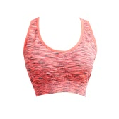 Women Fitness Yoga Sports Bra Contrast Padded Wire Free Seamless Push Up Running Gym Racerback Vest Top Bra