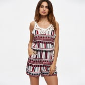 New Sexy Women Jumpsuit Short Rompers Stripe Geometric Hollow Out O-Neck Sleeveless Casual Playsuit Burgundy