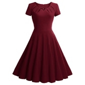 Women Vintage Dress Summer Elegant Short Sleeves 1950s Rockabilly Party Swing Dress Burgundy/Green