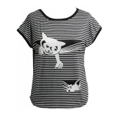 Cute Women T-shirt Stripes Cat Animal Print Short Batwing Sleeve Round Neck Loose Casual Tops White/Black