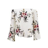 Women Off the Shoulder Top Floral Print Elastic Slash Neck Long Flare Sleeve Asymmetrical Blouse Casual Top